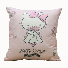 Kawaii Hello Kitty Pillowcase Linen Material Home Office Sofa Throw Pillow 45*45cm Household Cushion (No core)2C