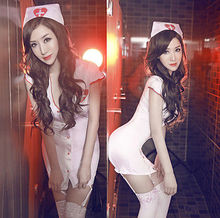 Plus Size Sexy Hot Erotic Lingerie Sexy Uniform Nurse Cosplay Porn Women Lingerie Hollow Womens Costumes Role Play mini dress