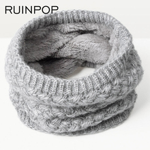 RUINPOP New Fashion Women Men Scarf Unisex Winter Knitted Scarves Cotton Neck Scarf Warmer Woman Crochet Ring Men Boy's Scarf(China)