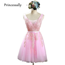 Sweet Pink Bridesmaid Dresses Knee Length V Neck Lace Appliques Elegant Wedding Party Gown Blush Vestido De Festa De Casamento