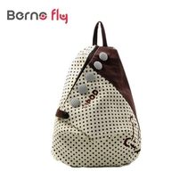 2017 Fashion Women Backpack Small casual back bag Contrast Polka Dot Button Decoration Canvas Shoulder Bag Khaki with Red Dot