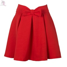 2017 Women Red Mini Front Bowknot High Waist Pleated Skirt Spring Autumn Brand New Design A Line Casual Clothing(China)