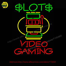 Slots Video Gaming Neon Sign Real Neon Bulb Handcrafted Recreation Room Bar Pub Wall Iconic Sign light Neon Art Beer Sign 31x24(China)
