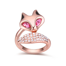 Women Finger Ring Fox Jewelry Austrian Crystal Cute Animal Rings Brand Jewellery For Kids Masquerade Cocktail Party Ring 2 Color(China)