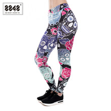 a3ea0cb8308 8848 New Leggings Hot Sell Women s Skull flower Black Leggings Digital Print  Pants Trousers Stretch Pants Fitness