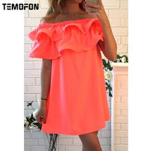 TEMOFON New Sexy Short Sleeve Women Beach Dress Summer Dresses Fashion Casual Hot Sale Mini Dresses Colorful Women Dress DCD1329(China)