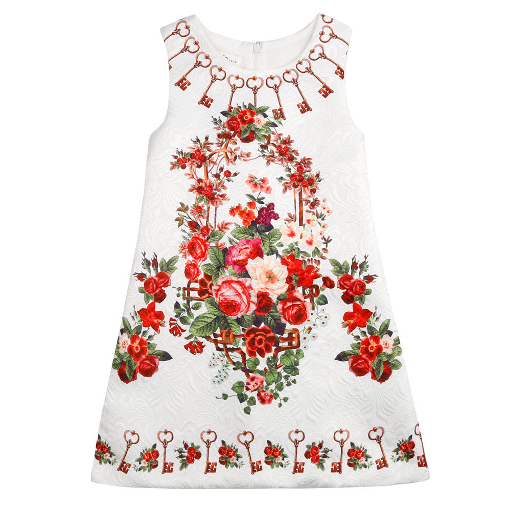 Girls Floral Jacquard Dress Kids Baby Sleeveless Vintage Keys Party Dresses Retail(China (Mainland))