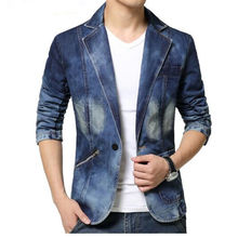 Denim Blazer Men Slim Fit Cowboy Male Coats Single-Breasted Leisure Mens Suit Jean Jacket Men Casual Coat New 2017 Spring