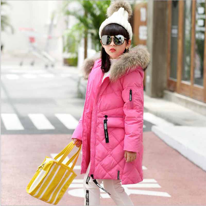 Girls Winter Jacket Down Jackets Coats 2017 Kids Jacket Hooded Long Sections Children Clothes Receive Warm Outerwear SnowsuitÎäåæäà è àêñåññóàðû<br><br>