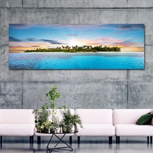New fashion sunset landscape canvas paintings big poster for living room blue sea wall paintings sofa background pictures(China)