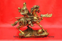 "Large brass Small Nice Chinese Guan Gong on horse Statue Figure 9"" H Decoration 100% Brass BRASS"