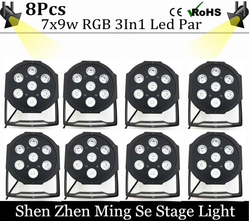 8pcs/lots  7x9w led Par lights  RGB 3in1 flat par led dmx512  disco lights professional stage dj equipment<br><br>Aliexpress