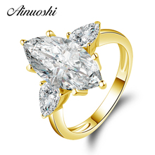 AINUOSHI 10k Solid Yellow Gold Wedding Ring 4.5 Carat Marquise Cut Sona Diamond Anelli 3 Stones Design Women Wedding Rings