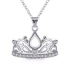 Free Shipping Hot Items New Style 925 Sterling Silver Jewelry Creative Crown Pendant Women Bohemian Wind Necklace(China)