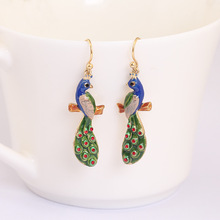 China Ethnic Wind Peacock Women's Luxury Enamel Original Gold Ornaments Party Earring Jewelry For Women Gift
