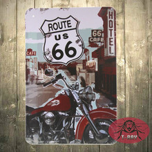 Garage Vintage wall plaque signs decoration The Route 66 main road iron paintings D-31