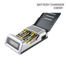 C905W Standard Battery Charger With LCD dispaly 4 Slots Smart Charger for 1-4 pcs AA/AAA Ni-MH/Ni-Cd rechargeable batteries(China)