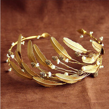 Romantic Hand-end Handmade Gold Baroque Leaves Pearl Hairbands Brides Headwear Flower Bridal Headbands Evening Hair Accessories(China)