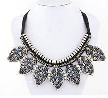 European and American wild temperament Bohemian crystal collar  leaves necklace  12pcs/lot