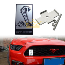 3D Silver Cobra Car Front Hood Grille Emblem Sticker for Ford Mustang Shelby GT350 (0245)(China)