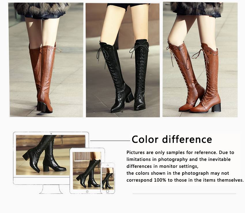 2018 Women's Over The Knee High Boots, Cow Leather, Fashion Lace Up Pointed Toe 31