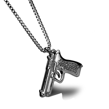 Hip Hop Hand Gun Design Pistol Hand Gun Pendant & Necklace Jewelry Cool Stainless Steel Silver Gold Black Choose Chain