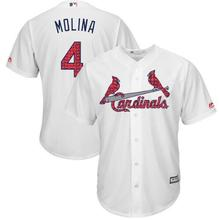 MLB Men's St. Louis Cardinals Yadier Molina Baseball White Stars/Stripes Cool Base number 4 Player Jersey(China)