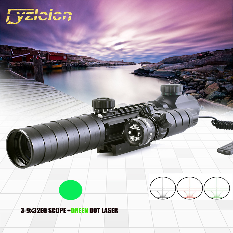 Tactical 3-9X32EG Riflescope w/ Long Range Red Dot Laser/ Red/Green Dot Holographic Reflex Sight Combo Rifle /Airsoft