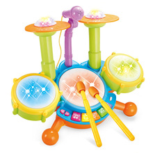 EFHH Electric light music With Microphone Jazz drum set Kit Educational Kids Toy