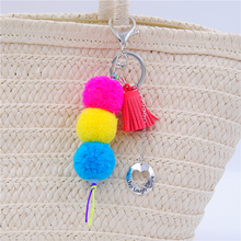 1PC Live Laugh Love Neon Color Wool Ball Pompom keychain Tassel Keychain for Bag Charms Pendant E1104