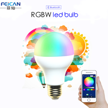 AC85-240V 5W 7W 9W RGBW Bluetooth LED Light Bulb Bluetooth 4.0 Smart Lighting Lamp Color Change Dimmable E27 version LED Lamp