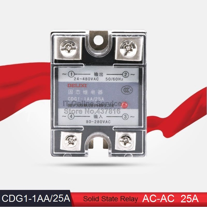 High Quality AC-AC 25A Solid State Relay 25A Single Phase SSR  Input 80-280VAC Output 24-480VAC (CDG1-1AA/25A)<br><br>Aliexpress