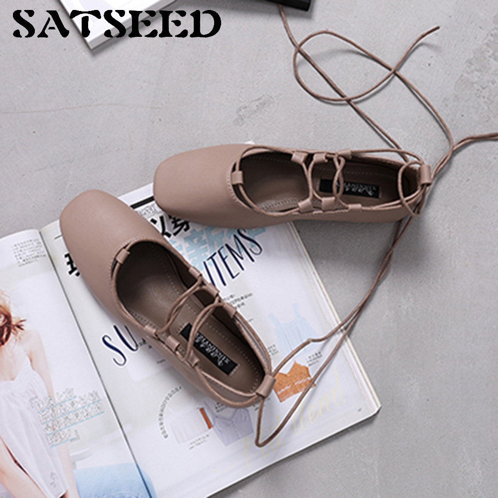 2017 Korean New Ballet Flat Square Hollow Cross Straps Shoelaces Tie Spring Shallow Mouth Shoes Casual Square Toe<br>