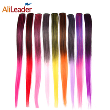 AliLeader 50CM Long Straight 2 inch width 1 Clip 1 Piece Clip In Hair Extensions Synthetic Fake Hair Pieces Ombre Two Tone Color(China)