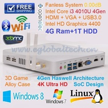Embedded Wifi 4G DDR3 1TB HDD Intel Core i3 4010U 4 Threads compact PC DHL Free Shipping ultra Mini PC Desktop Computer Thin PC
