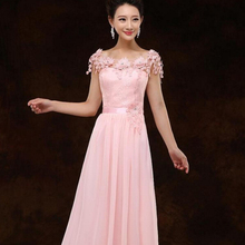light pink floor length dress top chiffon women long formal bridesmaids sexy bridesmaid dresses gown 2016 for weddings H2699