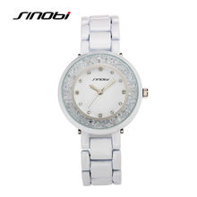 SINOBI 2016 White Wristwatch New Geneva Ceramic Watch Women Dress Watch Clock Hours Female Business Quartz Watches Relojes Mujer