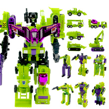 Cool Anime 24CM Big Size Transformation Toys Engineering 6 in 1 Truck Robot Car Devastator Action figure Model Toys Boys Gift(China)