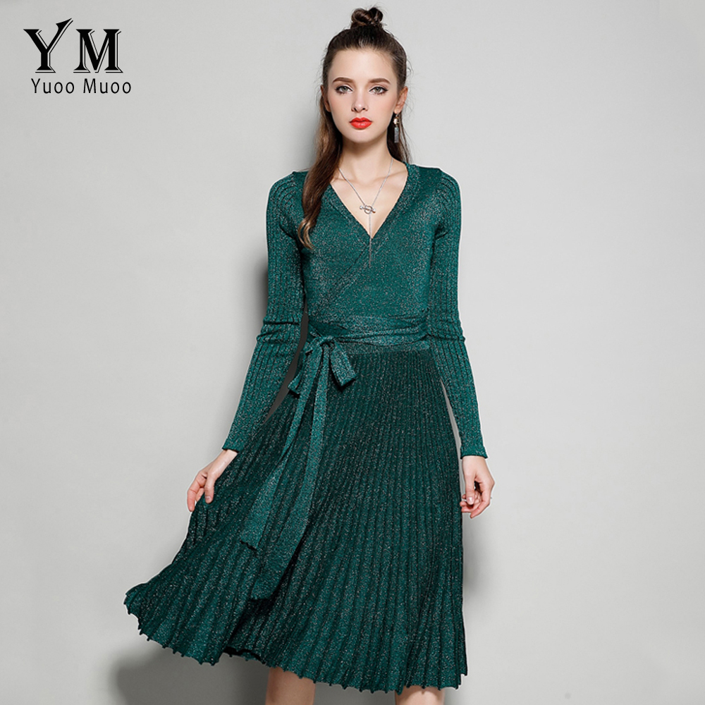 YuooMuoo New 2017 European Style V-neck Elegant Women Autumn Dress Fashion Shine Green Knitted Dress Pleated Winter Ladies Dress