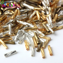 OlingArt Mixed Color Tube bead 2x9mm 1300pcs Twist Bugles Glass Seed Beads Wholesale Accessory necklace Bracelet jewelry Making(China)