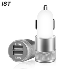 Car Charger IST Universal Mini Dual USB Charger For iPhone 6s 6 Plus 5 5s 7 Car Phone Charger For iPhone 5 USB Adapter LED Light