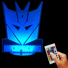 Free Shipping 1Piece Transformers Rainbow Night Light Autobot Decepticon Logo LED Night Lamp 3d Table Lamp Multicolour LED