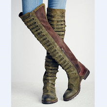 Fashion Cut-outs Knee High Boots Italian Style Patchwork Motorcycle Boots Warm Flock Platform Riding Boots Round Toe Shoes Woman(China)