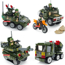 Modern military world war scene Fire Commander building block army figures tank Rocket gun Armored car Vehicle brick toy for boy