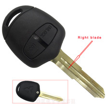 10pcs/lot For Mitsubishi 2 buttons remote key shell Right blade Replacement Transponder Car Key Remote For Mitsubishi Grandis
