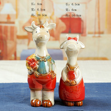 2pcs/set Goat Creative Home Room Table Decoration Couple Calf Ceramic Animal Crafts Gift(China)