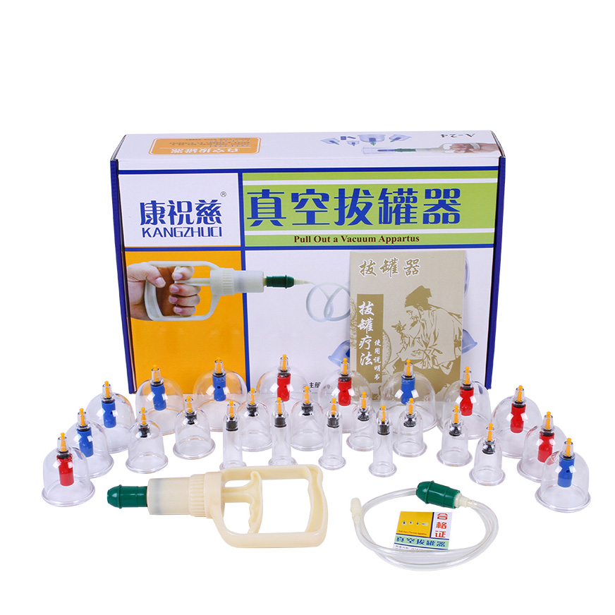 24Pcs Massage Vacuum Cupping Set Thicker Magnetic Therapy Aspirating Cupping Cans Acupuncture Massage Suction Cup With Tube<br>