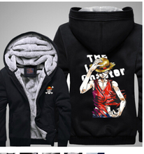 new thicken Anime marine navy One Piece Luffy chopper Straw hat Law Ace hoodie jacket coat