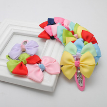 2pcs/lot  2015 new fashion design solid grosgrain bows toddler baby girls hair snap clips hairpins children accessories