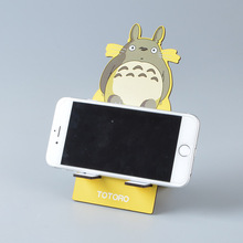 Studio Ghibli Miyazaki Hayao Anime TOTORO Model Wooden Mobile Phone Stand Holder Cute Mickey Mobile Phone Tablet Desk Holder